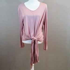 J. Crew XL Pink Long Sleeve Tied Waist Knit Top